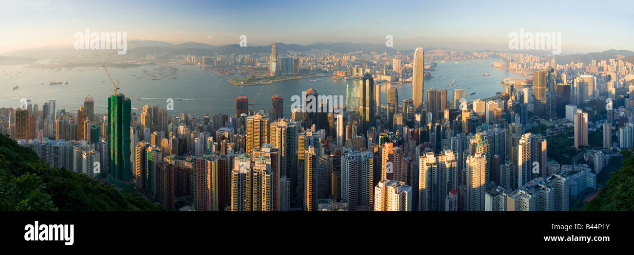 Chine Hong Kong ville vue du pic Photo Stock