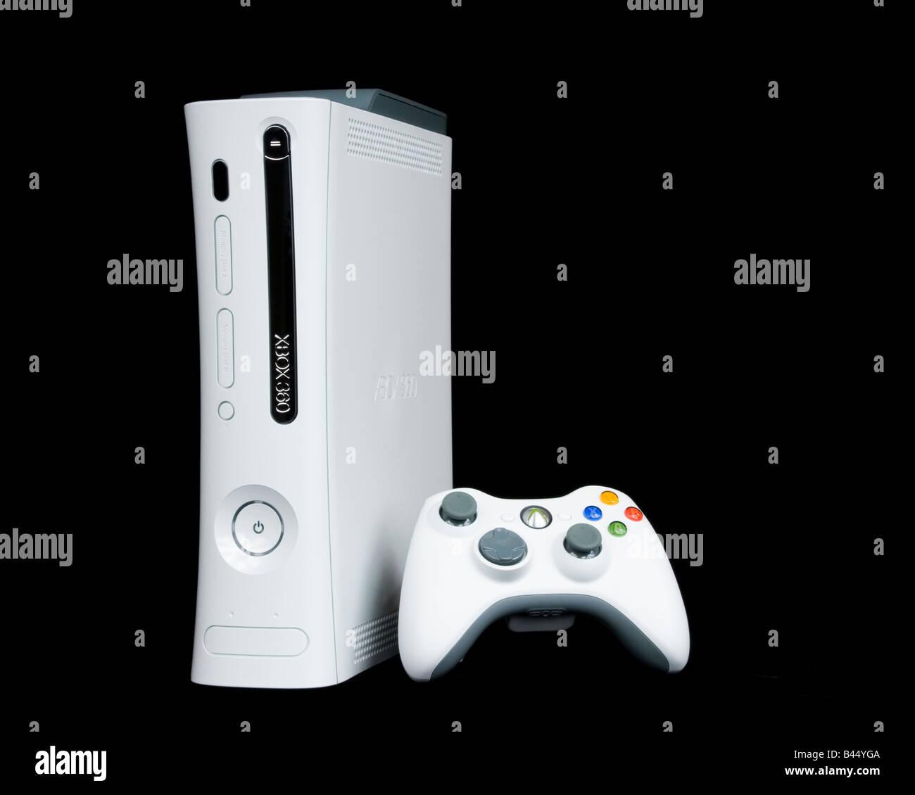 Jeux vidéo, Xbox 360 Controller par Microsoft sur un fond noir. Photo Stock