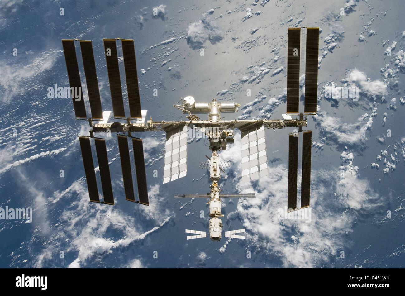 Station spatiale internationale STS 124 et de la terre 11 Juin 2008 Photo Stock