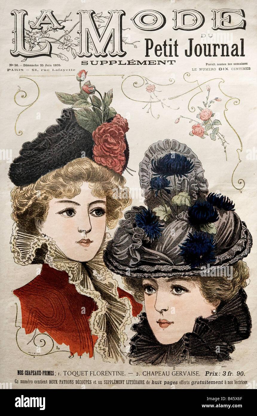 1890 Couverture du magazine Français Victorien Supplément La mode du Petit Journal 25 Juin1899 pour un Photo Stock
