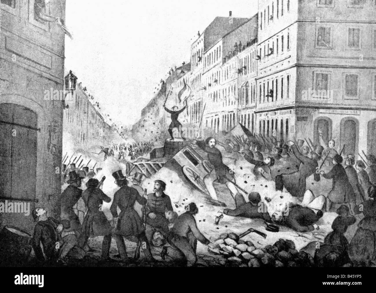 Événements, révolutions 1848 - 1849, Allemagne, Prusse, Révolution de mars, Berlin, barricade à Taubenstrasse, 18.3.1848, Banque D'Images