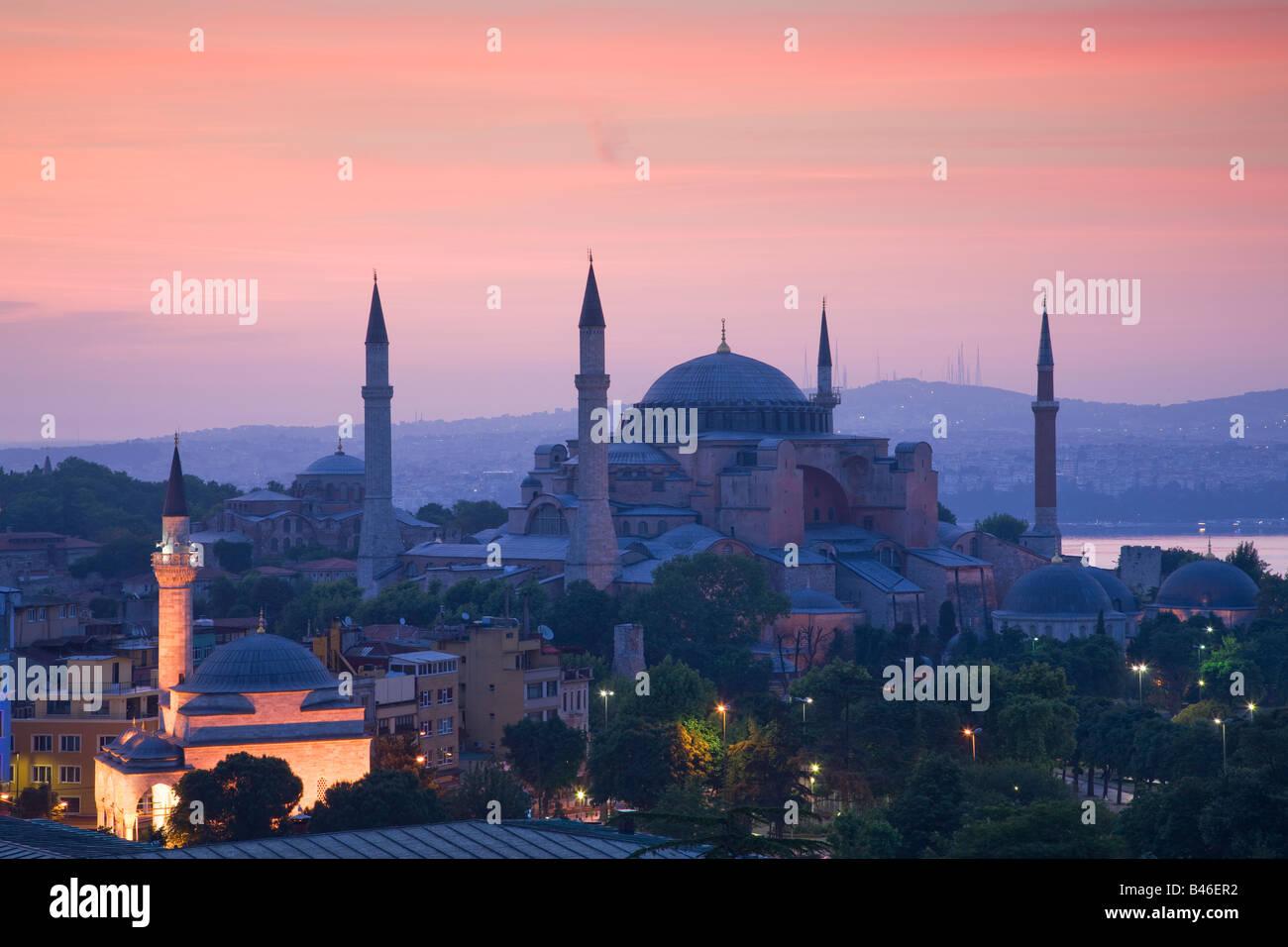 Turquie Istanbul vue élevée de la mosquée Sainte-Sophie Photo Stock