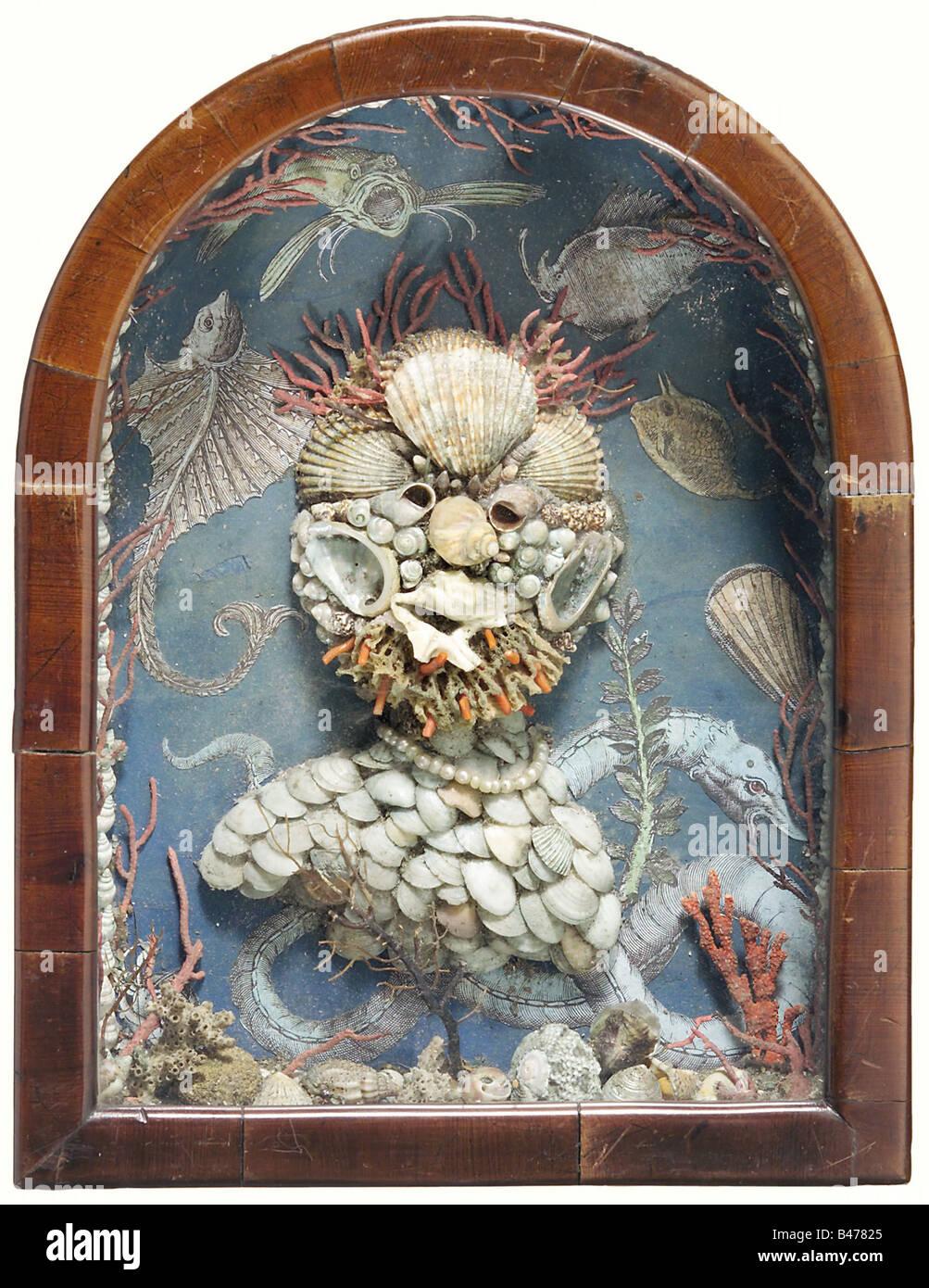Un shell collage portrait, dans le style de Giuseppe Arcimboldo, Italie, vers 1840. Un buste en relief la moitié Photo Stock