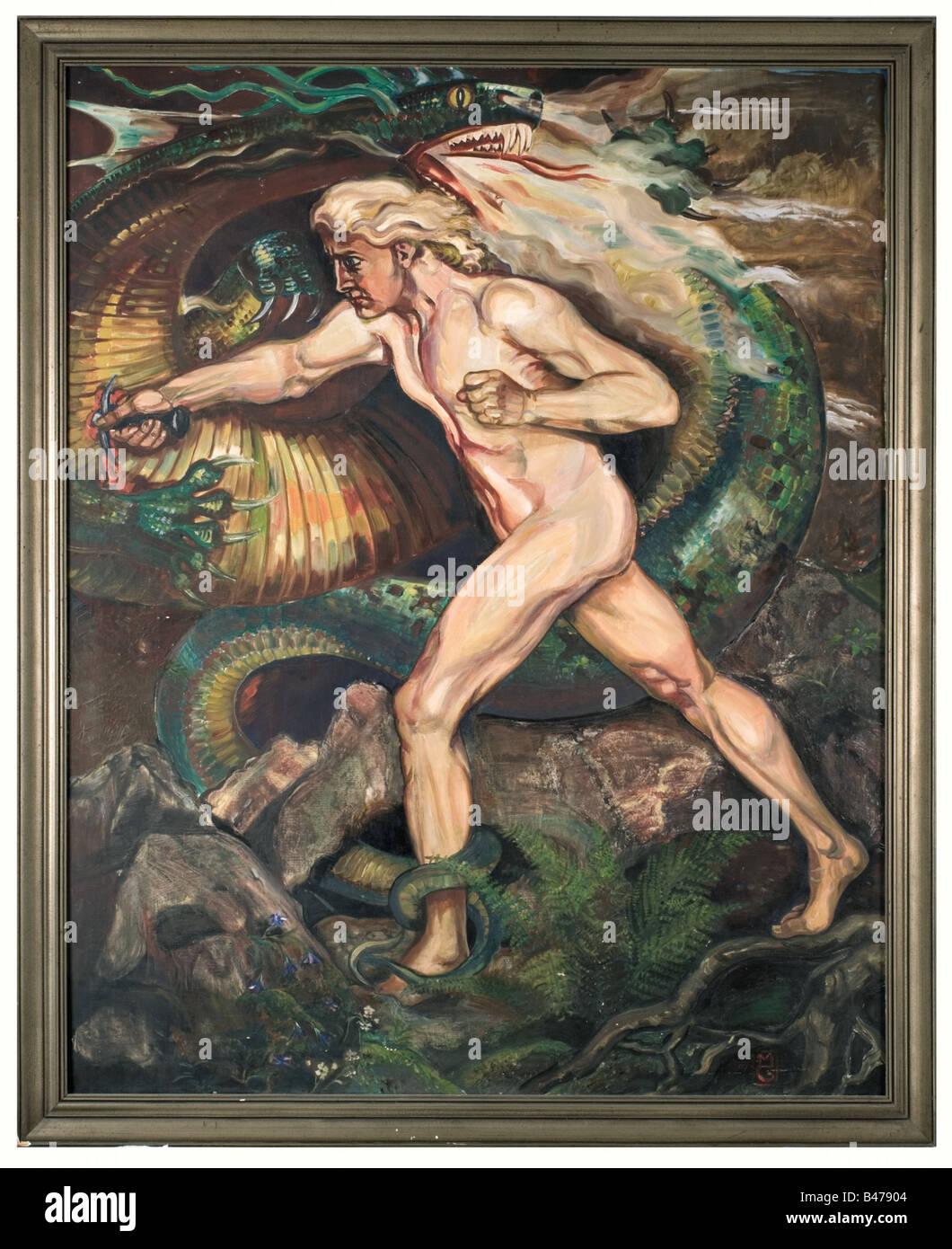 Mathias Guckenhan - Siegfried terrassant le dragon., peinture monumentale. Huile sur toile, sur le côté Photo Stock