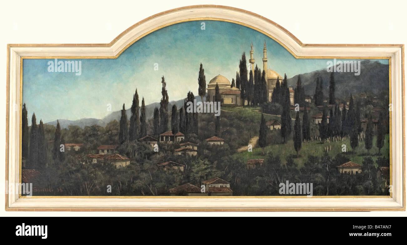 Un paysage en mosquée, daté 1898 Huile sur toile. Au premier plan des maisons dans un paysage de collines Photo Stock