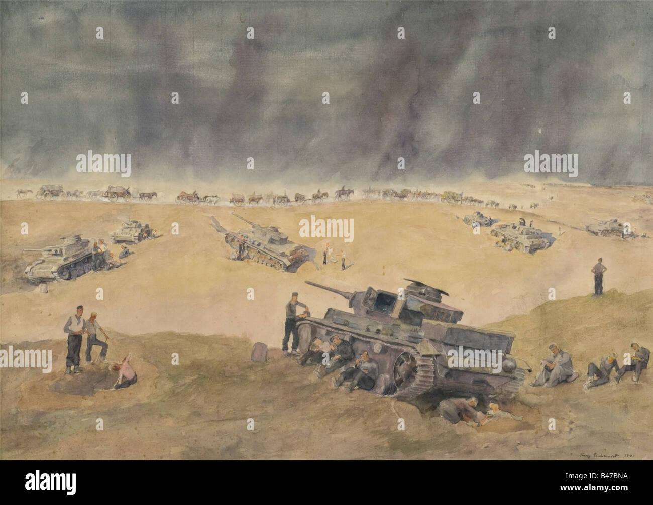 Réservoirs en position de veille à l'aéroport de Pitomnik, grande peinture aquarelle. Signé et daté dans le coin inférieur droit « Franz Eichhorst 1941 ». 48 x 63 cm. Dans un support avec des étiquettes d'inventaire de la Grande exposition d'art allemand 1943 au dos. Cf. Catalogue 'Grosse Deutsche Kunstellung 1943' dans la Haus der Kunst à Munich, exposition numéro 187, hall 30. Pitomnik était l'aéroport de Stalingrad, qui fut repris par les Russes le 16 janvier 1943. Historique, historique, peuple, années 1930, XXe siècle, beaux-arts, art, NS, socialisme national, nazisme, troisième Reic, Banque D'Images