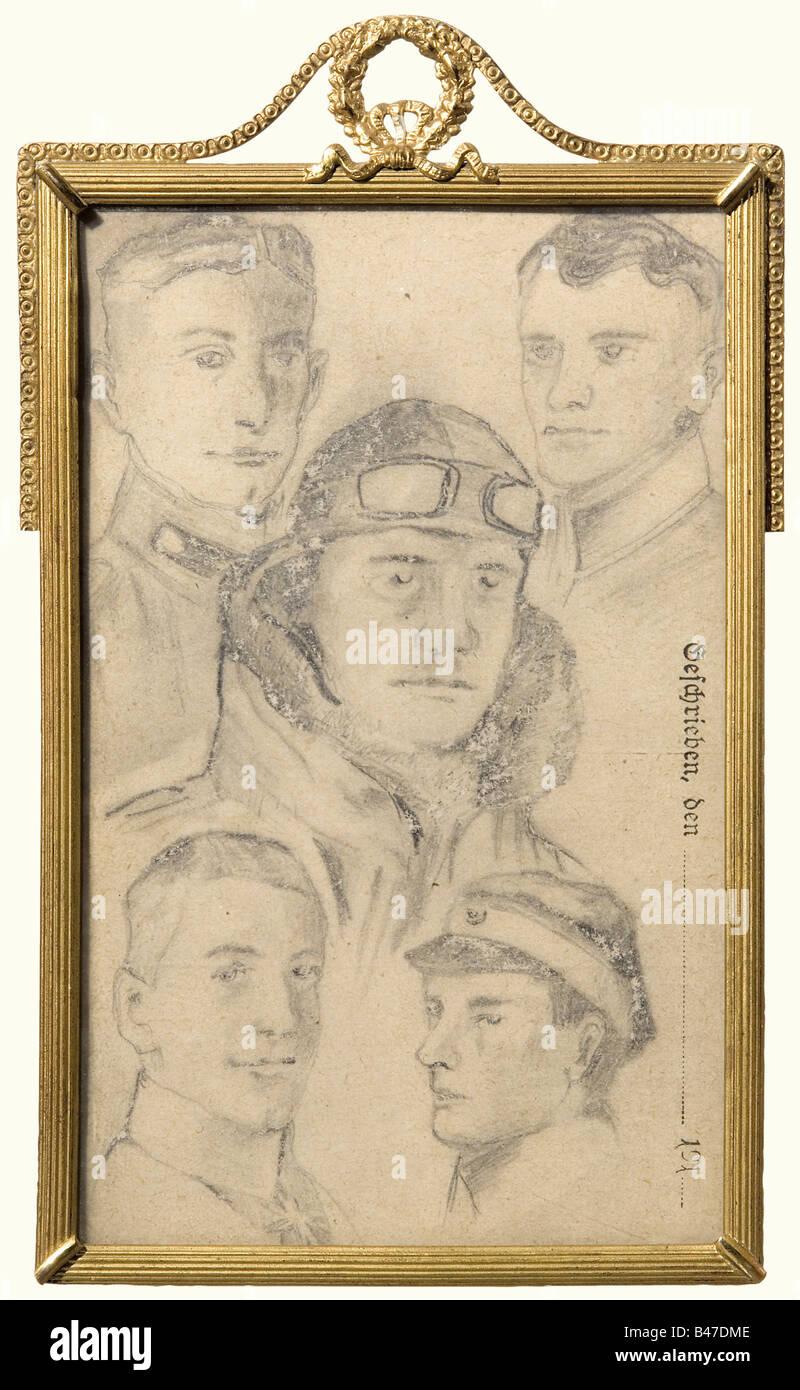 Le baron Manfred von Richthofen - un champ post card, avec crayon portraits de von Richthofen ainsi que de Wolff, Photo Stock