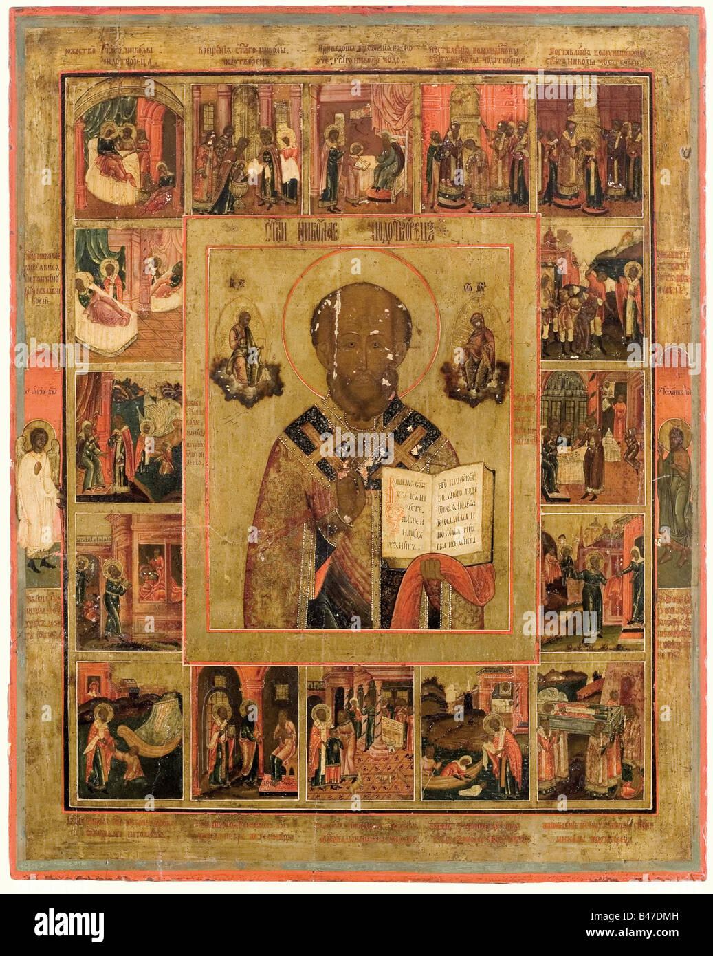Une icône, vers 1840. Une photo de Saint Nicolas au centre, entouré par des scènes de sa vie. Technique Photo Stock