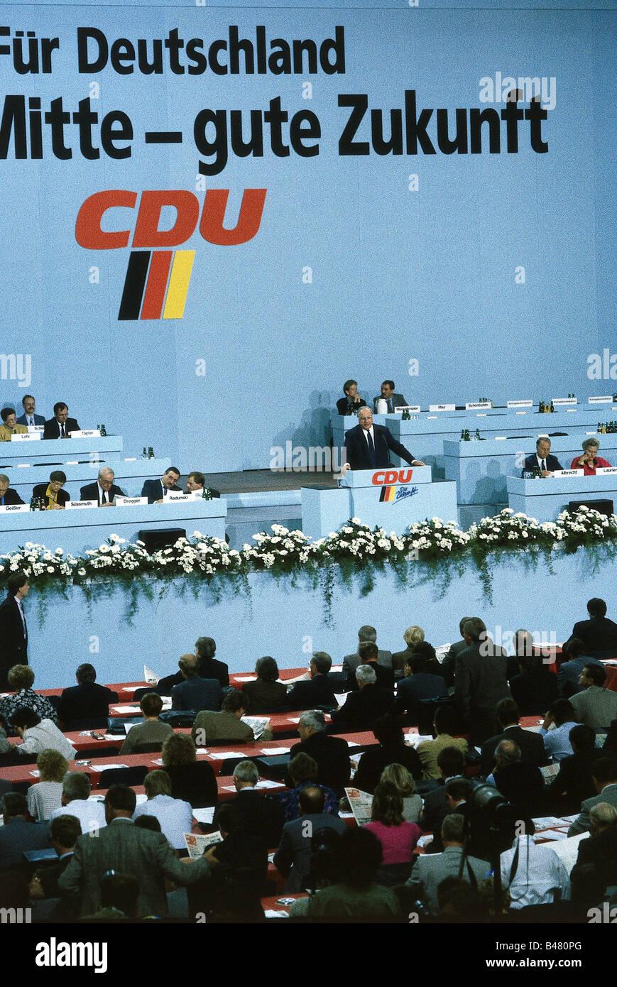 La politique, conférence des CDU, Brême, discours du Chancelier Helmut Kohl, 10. / 11.9.1989, Partie, Photo Stock