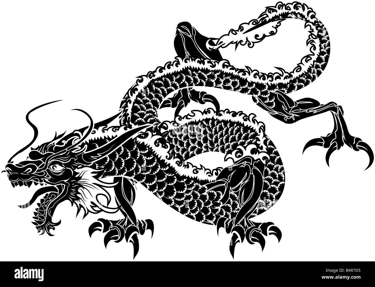 Illustration de dragon japonais noir sur fond blanc banque d 39 images photo stock 19850465 alamy - Dragon japonais ...