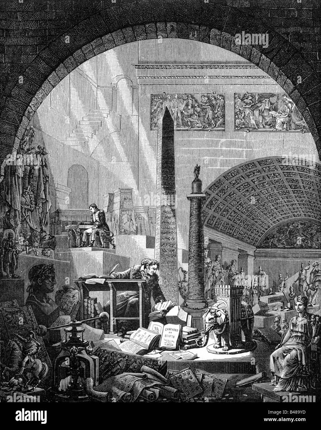 Denon, Dominique-vivant, 4.1.1747 - 27.4.1827, peintre français, écrivain, mi-longueur, écrivant son œuvre 'Voyage Banque D'Images