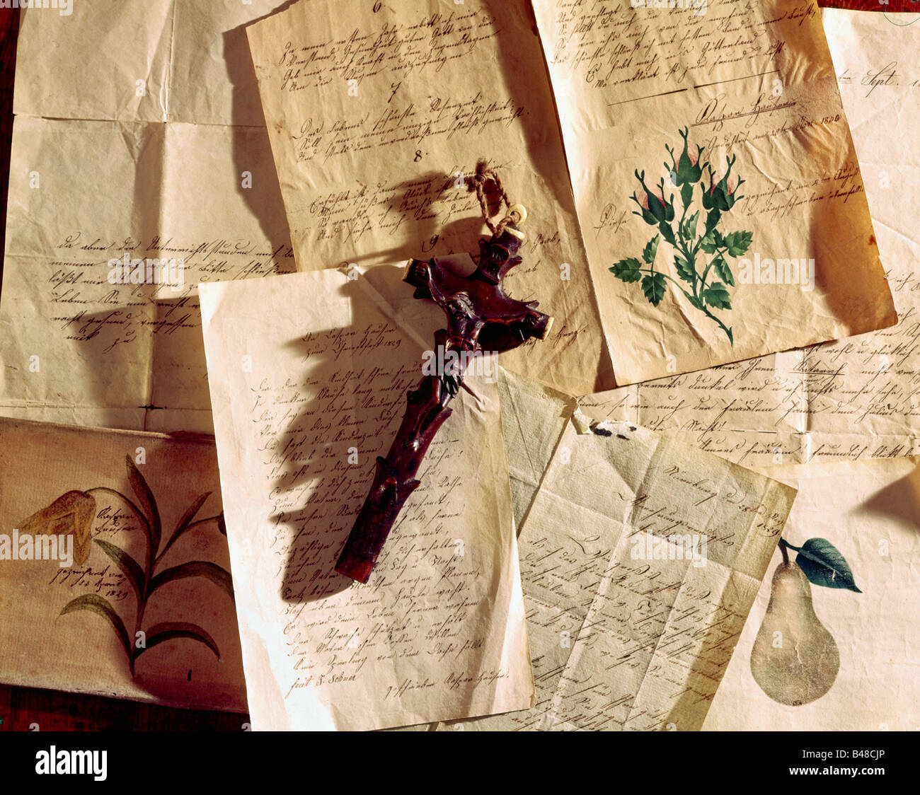 Hauser, Kaspar, 30.4.1812 - 17.12.1833, fondateur allemand, dessins, poèmes, lettres et croix, Mainfränkisches Heimatmuseum, Ansbach, Allemagne, Banque D'Images