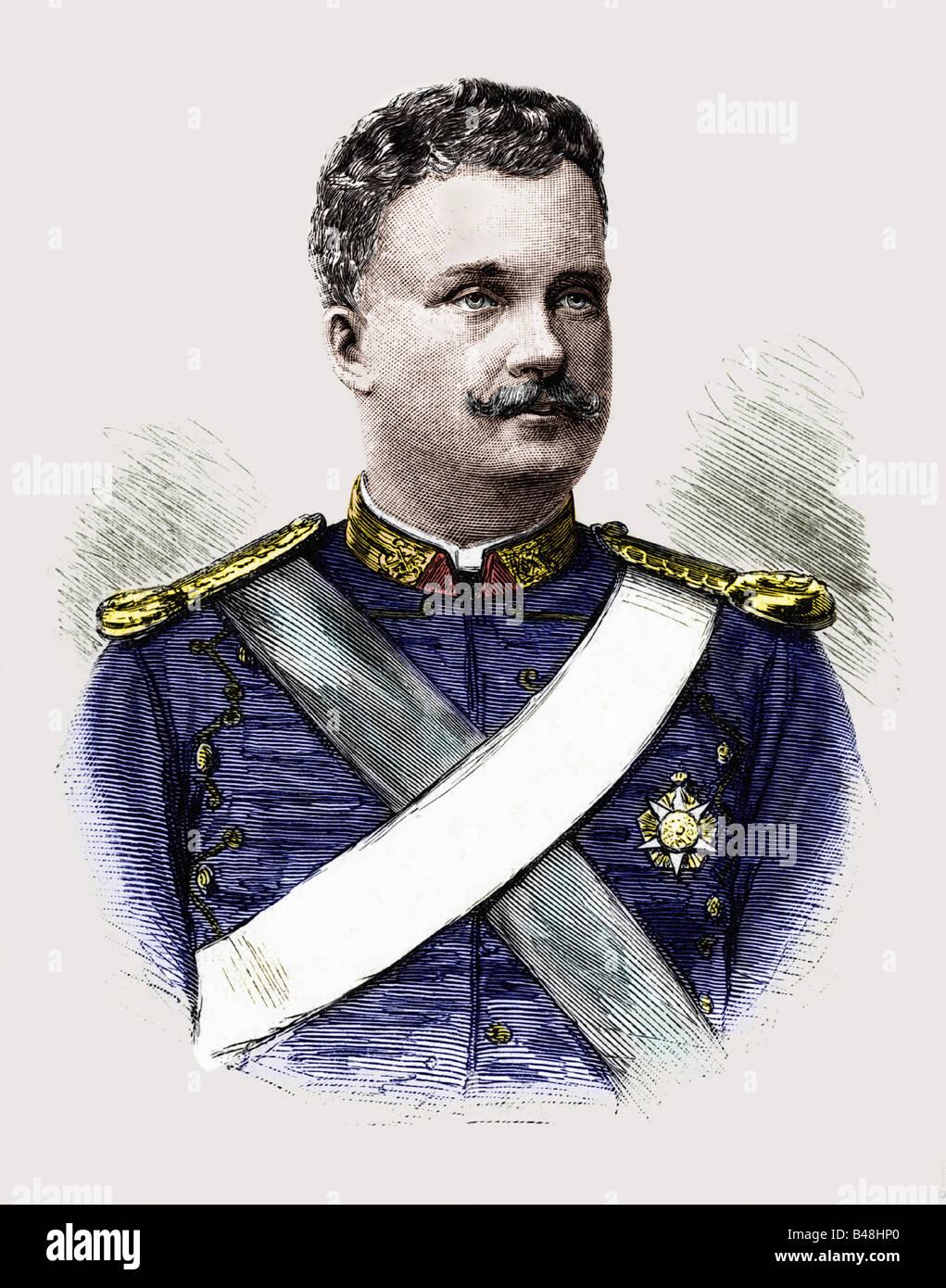 Carlos I., 28.9.1863 - 1.2.1908, roi du Portugal 19.10.1889 - 1.2.1908, portrait, gravure vers. 1895, , Banque D'Images