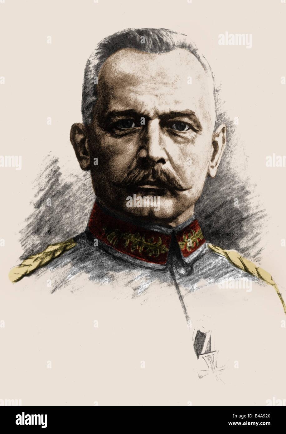 , Erich von Falkenhayn, 11.9.1861 - 8.4.1922, général allemand, portrait, carte postale, dessin, 1915, Photo Stock