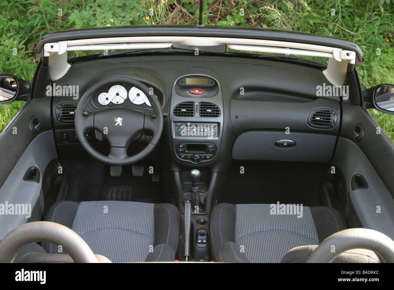 Voiture, Peugeot 206 CC, cabriolet, modèle année 2000-, noir, dessus ...