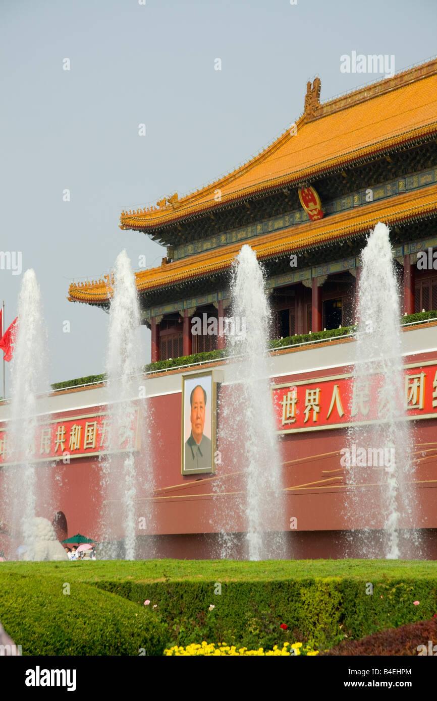 La porte de la paix céleste , la place Tiananmen , Beijing , Chine Photo Stock