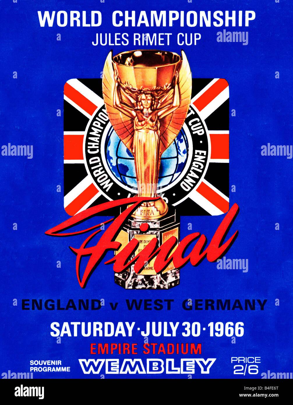 Programme final de la Coupe du monde pour l'Angleterre v l'Allemagne de l'Ouest finale à Wembley en juillet 1966 Banque D'Images