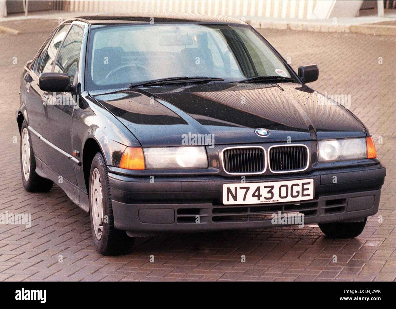 La BMW série 3 octobre 1998 Trois quarts voir Photo Stock