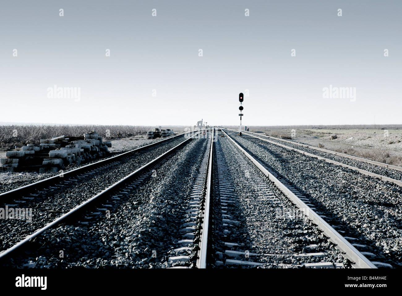 Une voie de chemin de fer vide Photo Stock