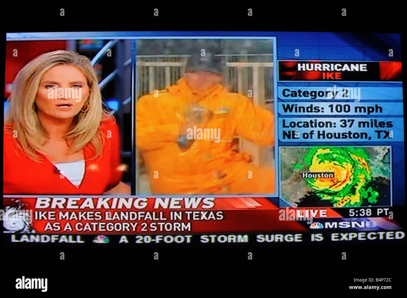 En Vue A La Television Meteo Breaking News Tv Banque D Images Photo