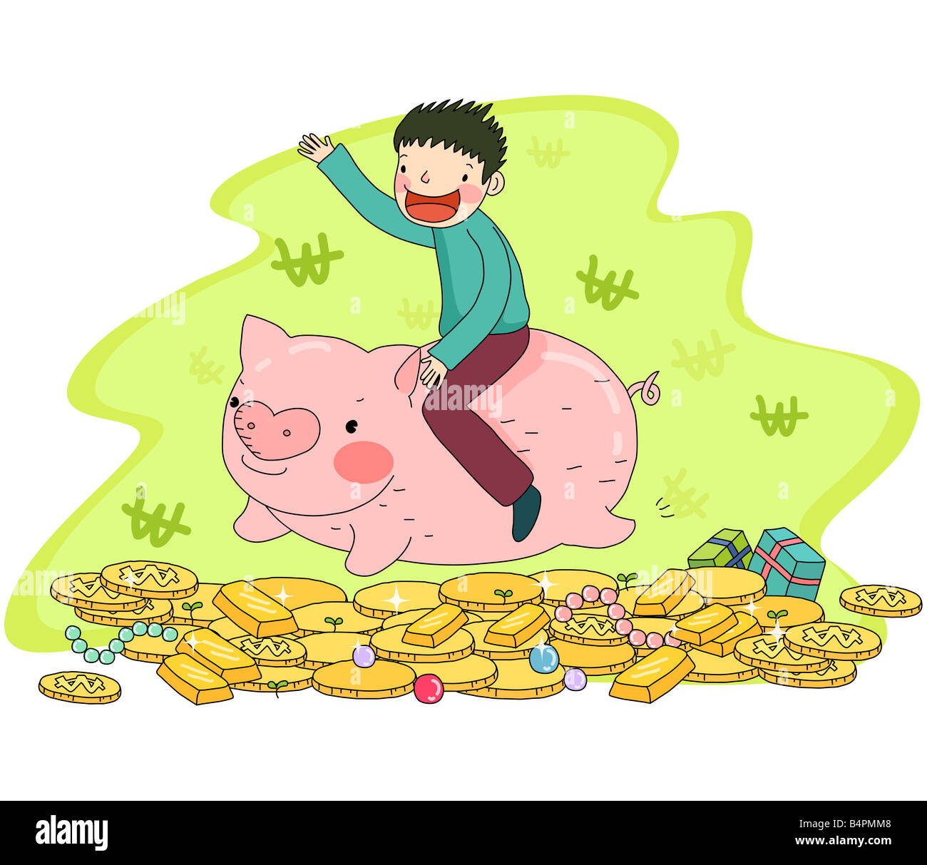 Représentation d'une boy riding piggy bank Photo Stock