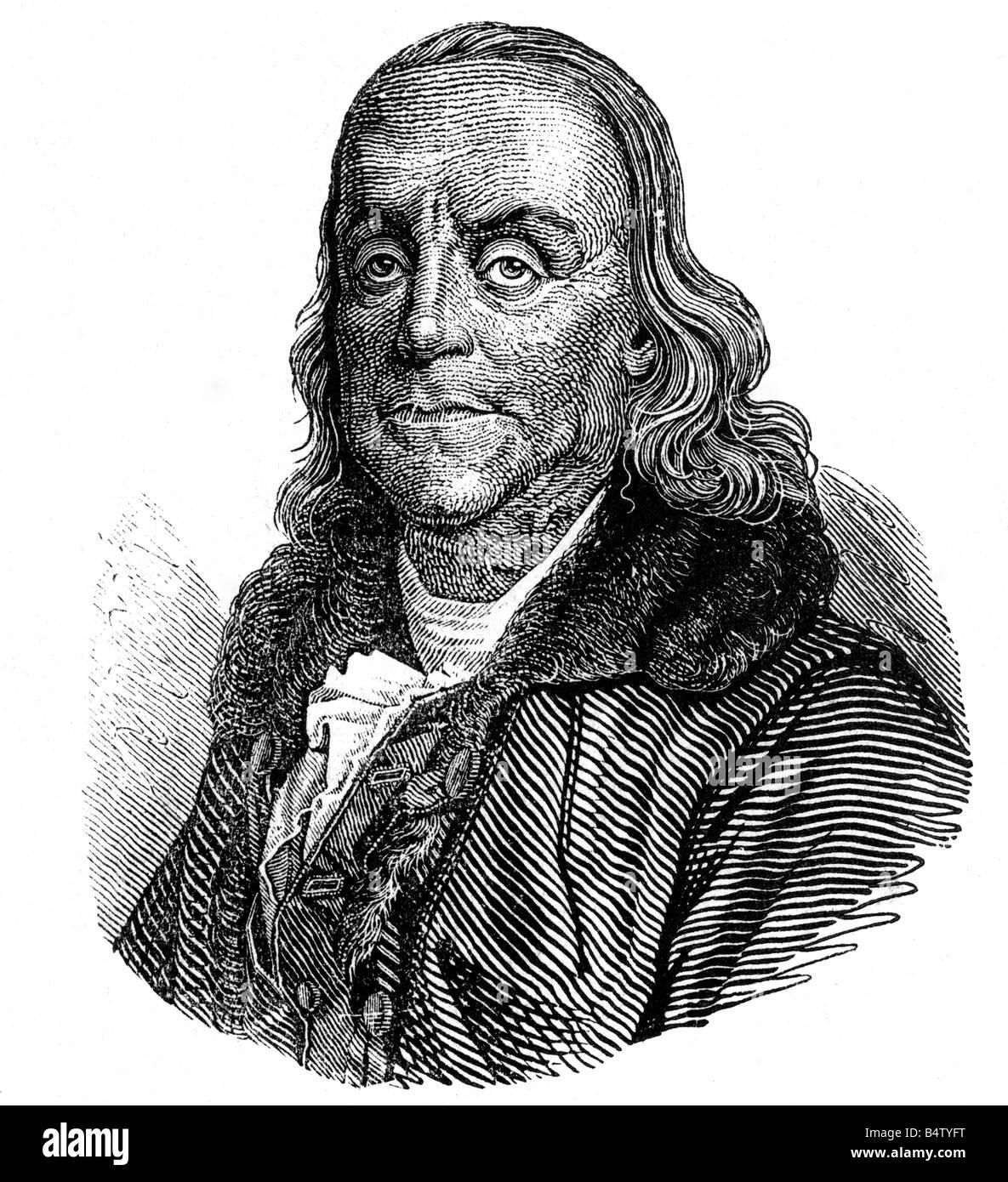 Franklin, Benjamin, 17.1.1706 - 17.4.1790, scientifique naturel américain, politicien, portrait, gravure de bois, Banque D'Images