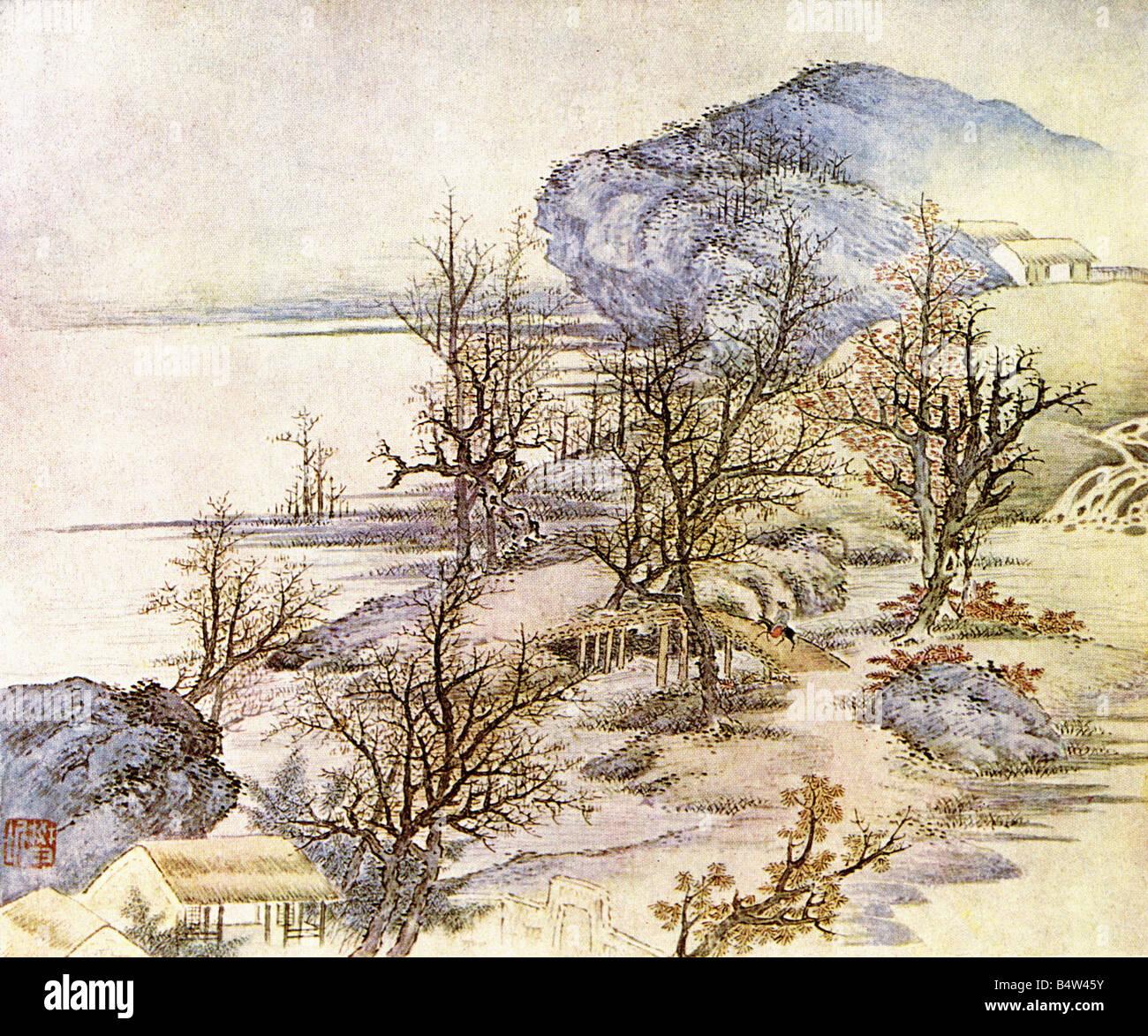 """Géographie / voyages, Chine, paysage / paysages, """"Printemps au fleuve"""", peinture, par le ventilateur Photo Stock"""