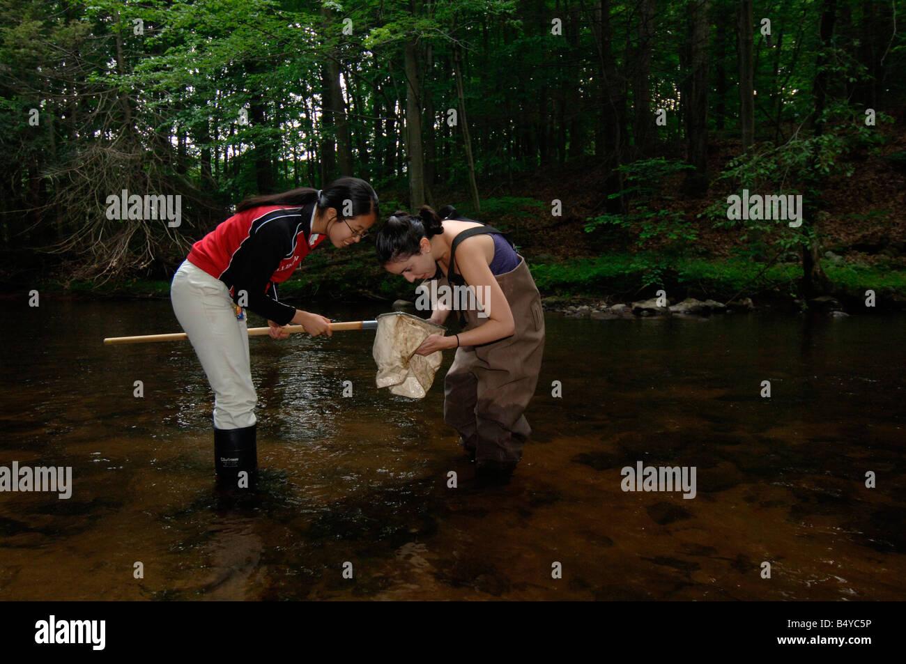 Stream Lab, dans la classe de biologie de l'École d'été de faire enquête sur les flux Photo Stock