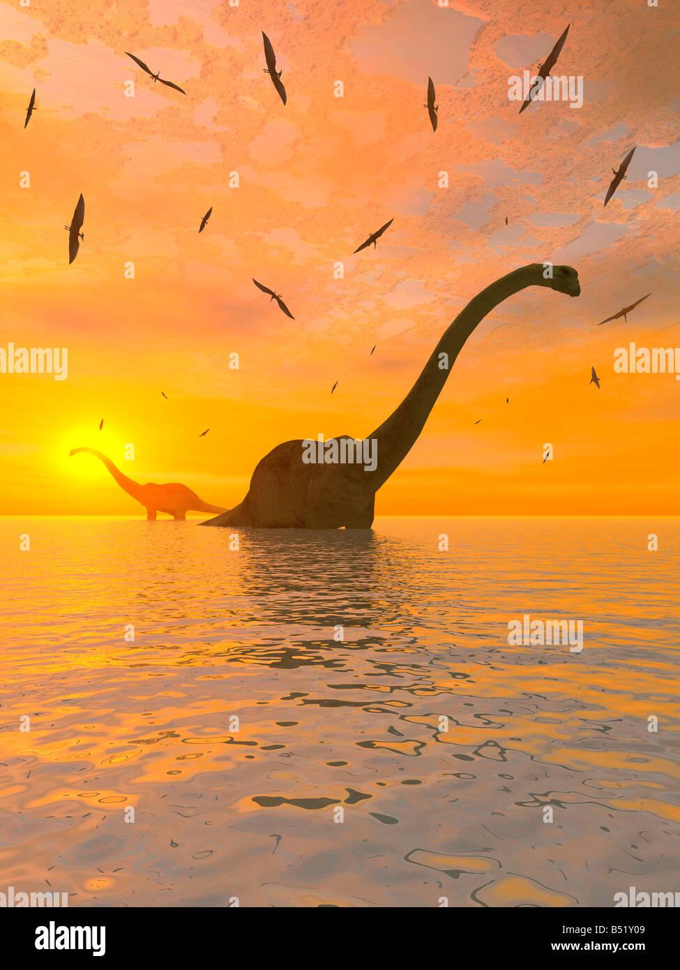 Le Diplodocus dinosaures et ptérosaures volants. Banque D'Images