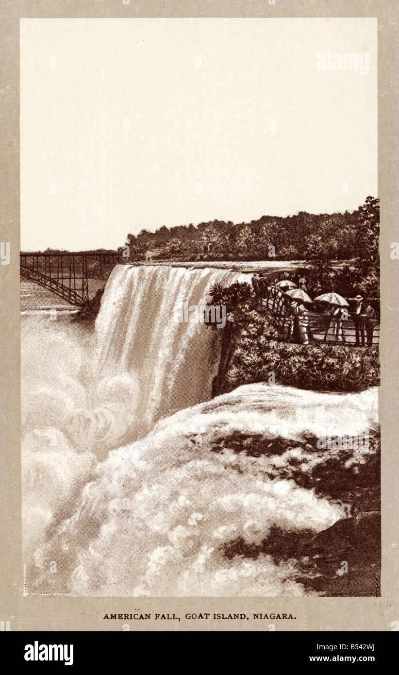 Old vintage American photo carte postale de l'éditorial n'utilisez que les Chutes du Niagara Photo Stock