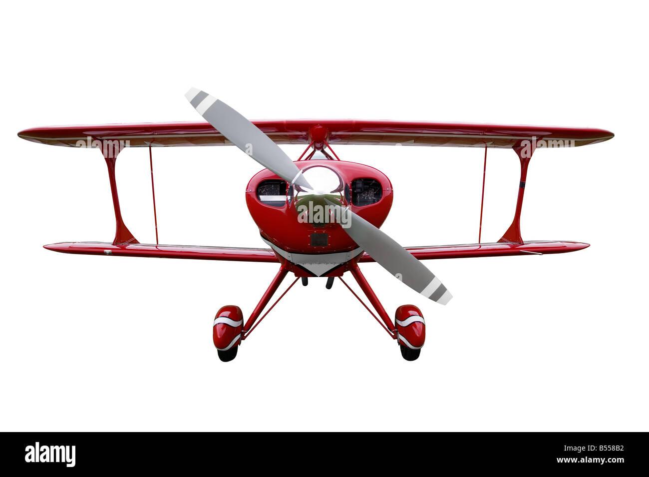 Biplan rouge coupé Banque D'Images