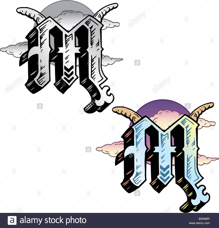 Style De Tatouage A La Main Lettre M Avec Les Symboles Integres Y
