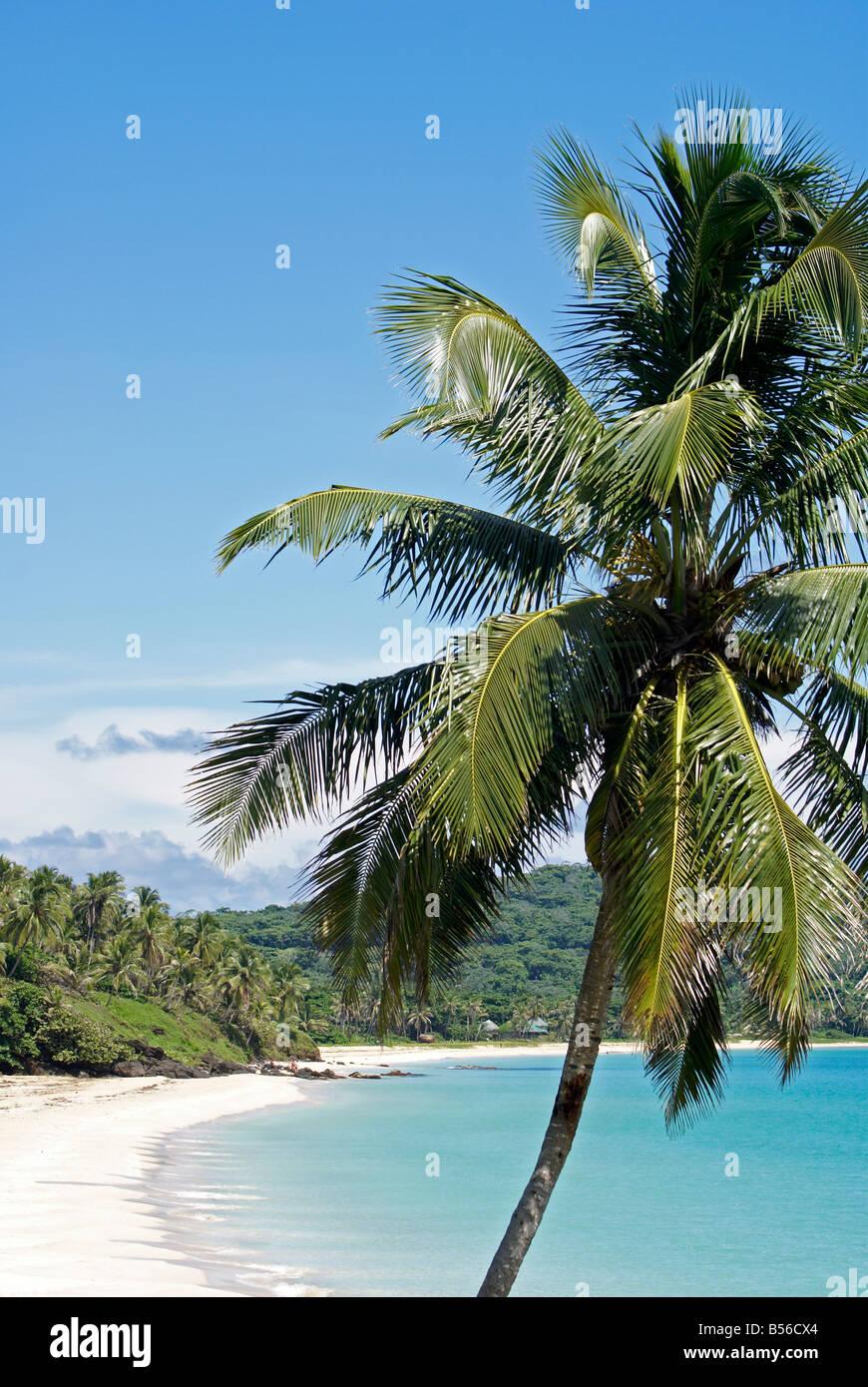 Plage des Caraïbes, sable blanc immaculé sur Big Corn Island, au Nicaragua, en Amérique centrale Banque D'Images