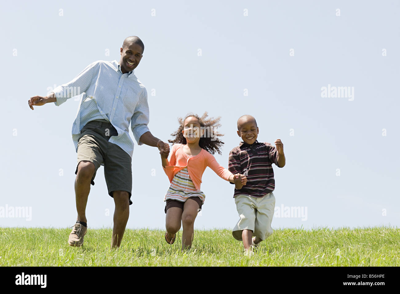 Le père et les enfants dans le champ Photo Stock