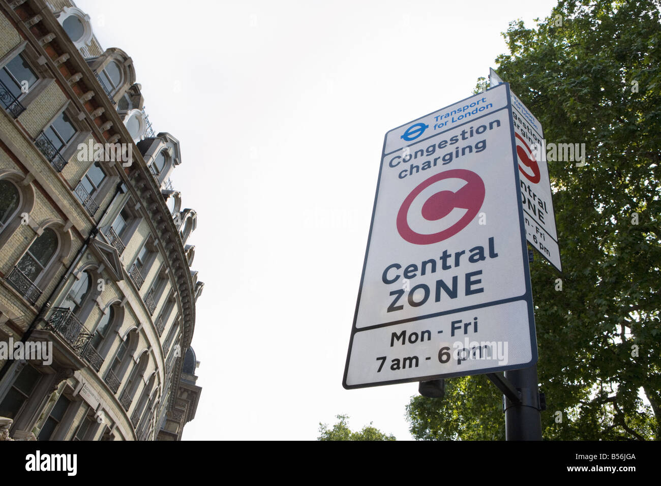 Congestion charge sign Photo Stock