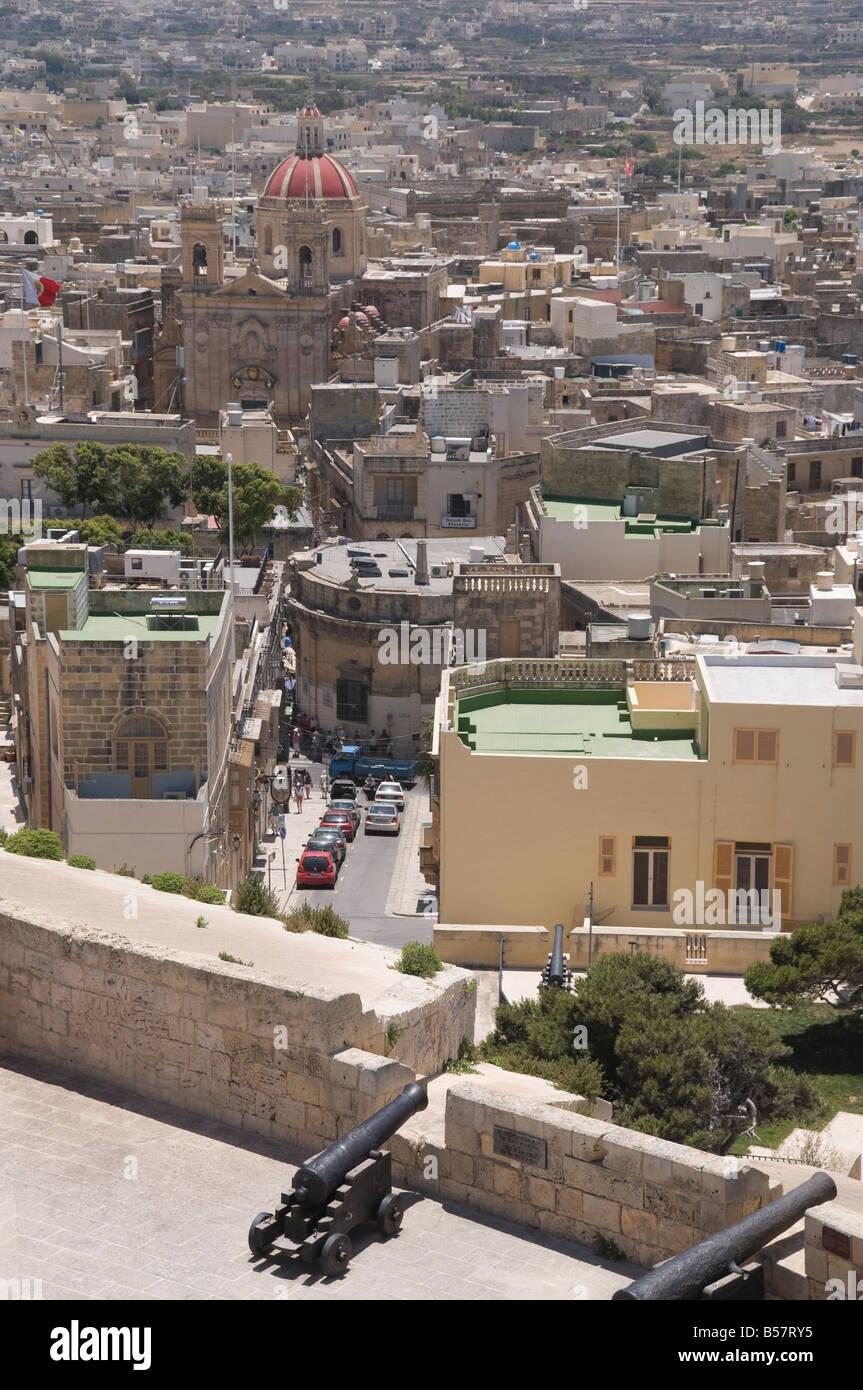 Basilique Saint-georges depuis les remparts de la Citadelle, Victoria (Rabat), Gozo, Malte, Europe Photo Stock