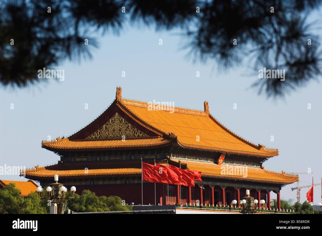 Porte de la paix céleste de la Cité Interdite Palace Museum, Beijing, Chine Photo Stock
