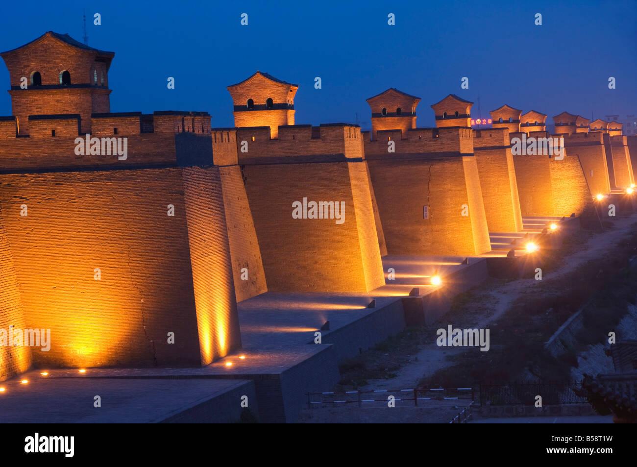 Dernière Dynastie Ming intacte mur de ville en Chine, UNESCO World Heritage Site, Pingyao City, province de Photo Stock