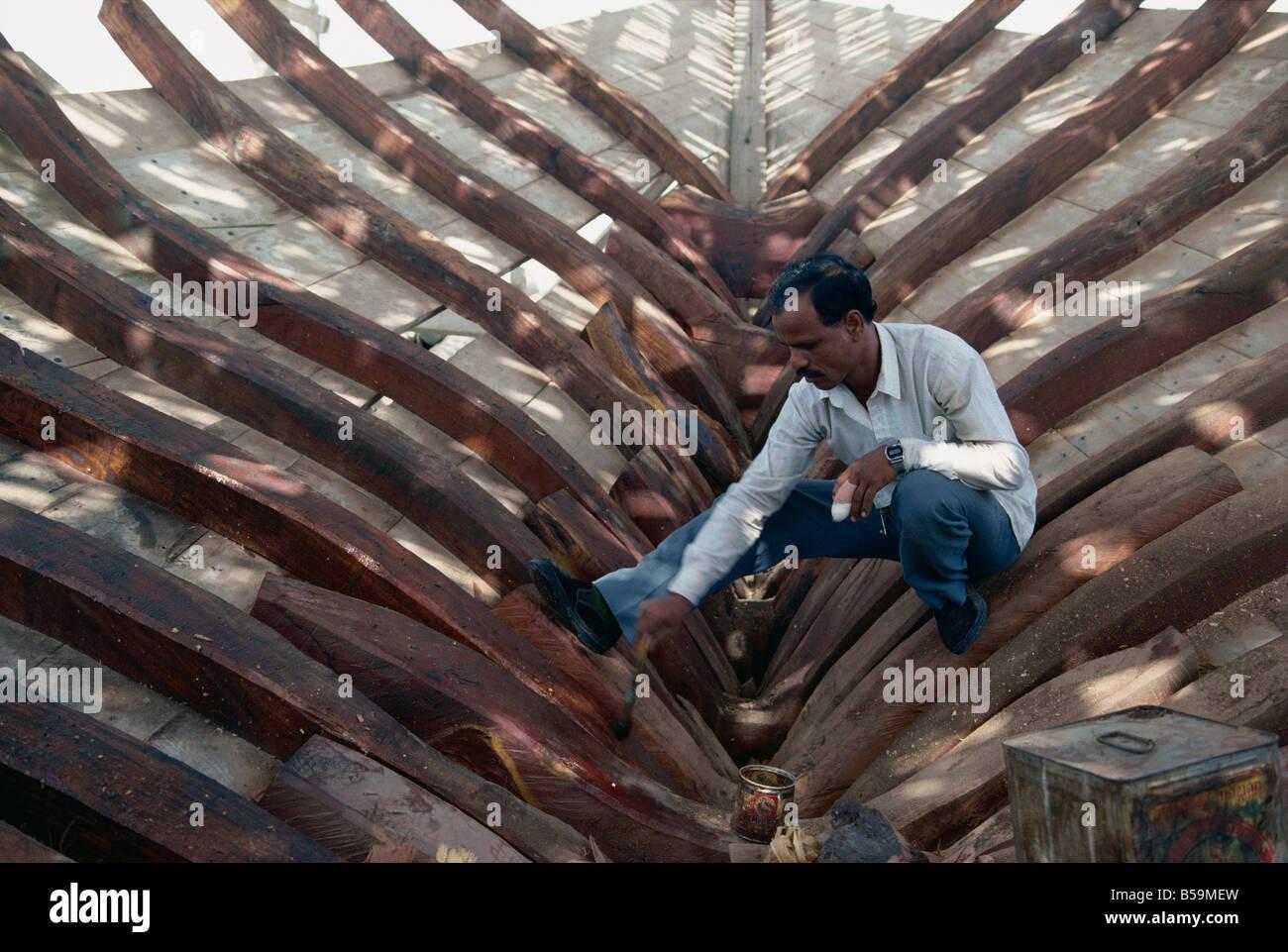 La construction de boutres, Manama, Bahreïn, Moyen-Orient Photo Stock