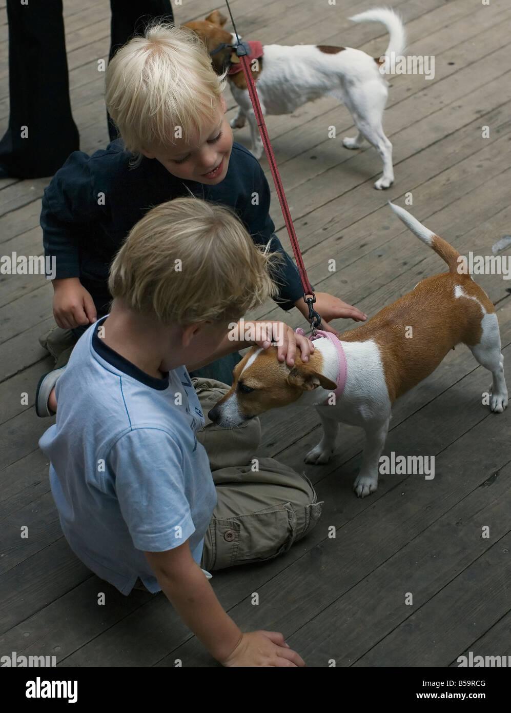 Deux petits garçons avec amour avc un chien de compagnie. Photo Stock