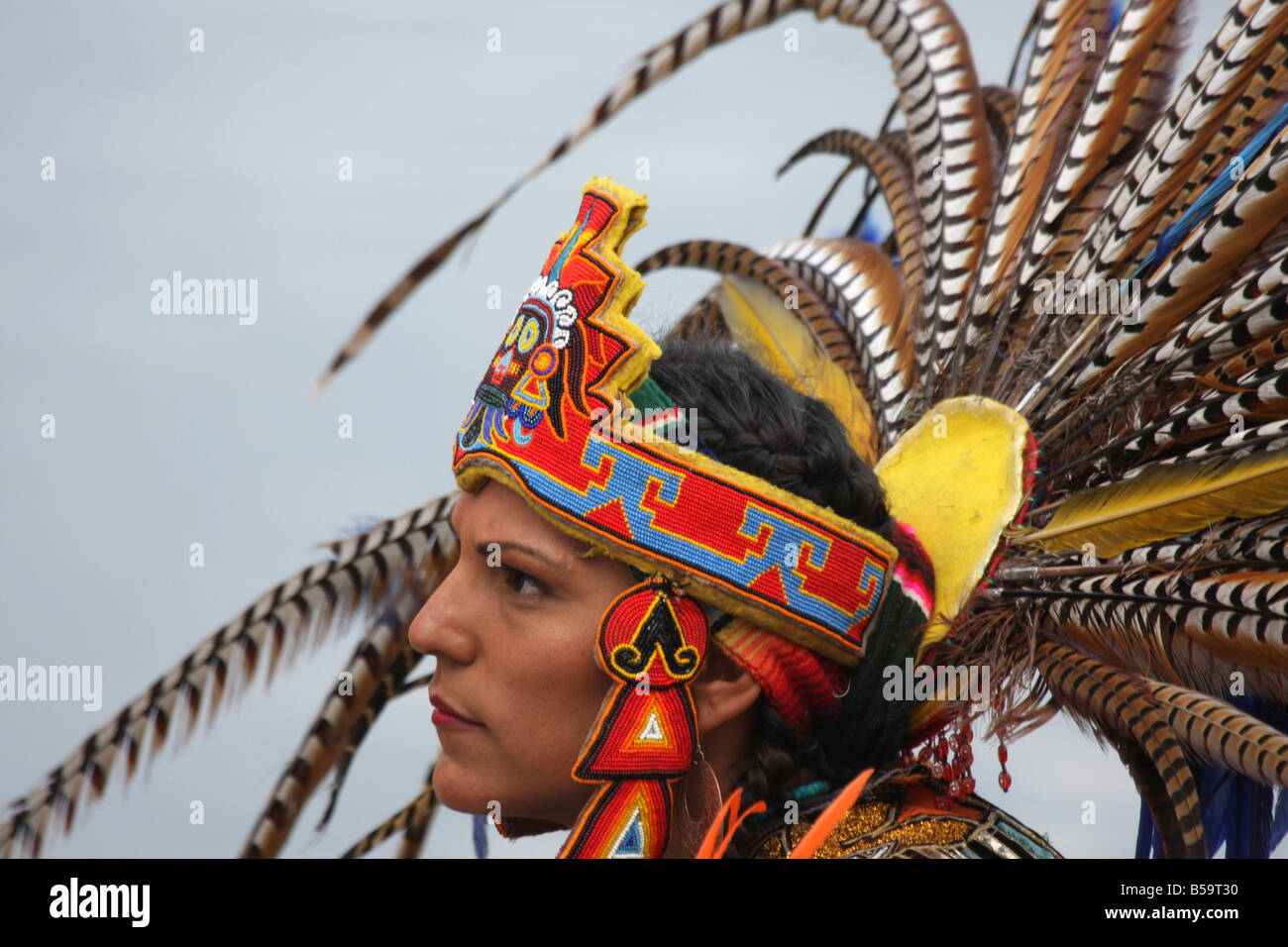 Un Indien De L Amerique Du Sud Inca Dans Une Coiffure De Plumes De