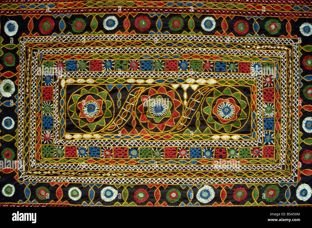 Close-up of Rajasthan Rajasthani, broderie, Inde Banque D'Images