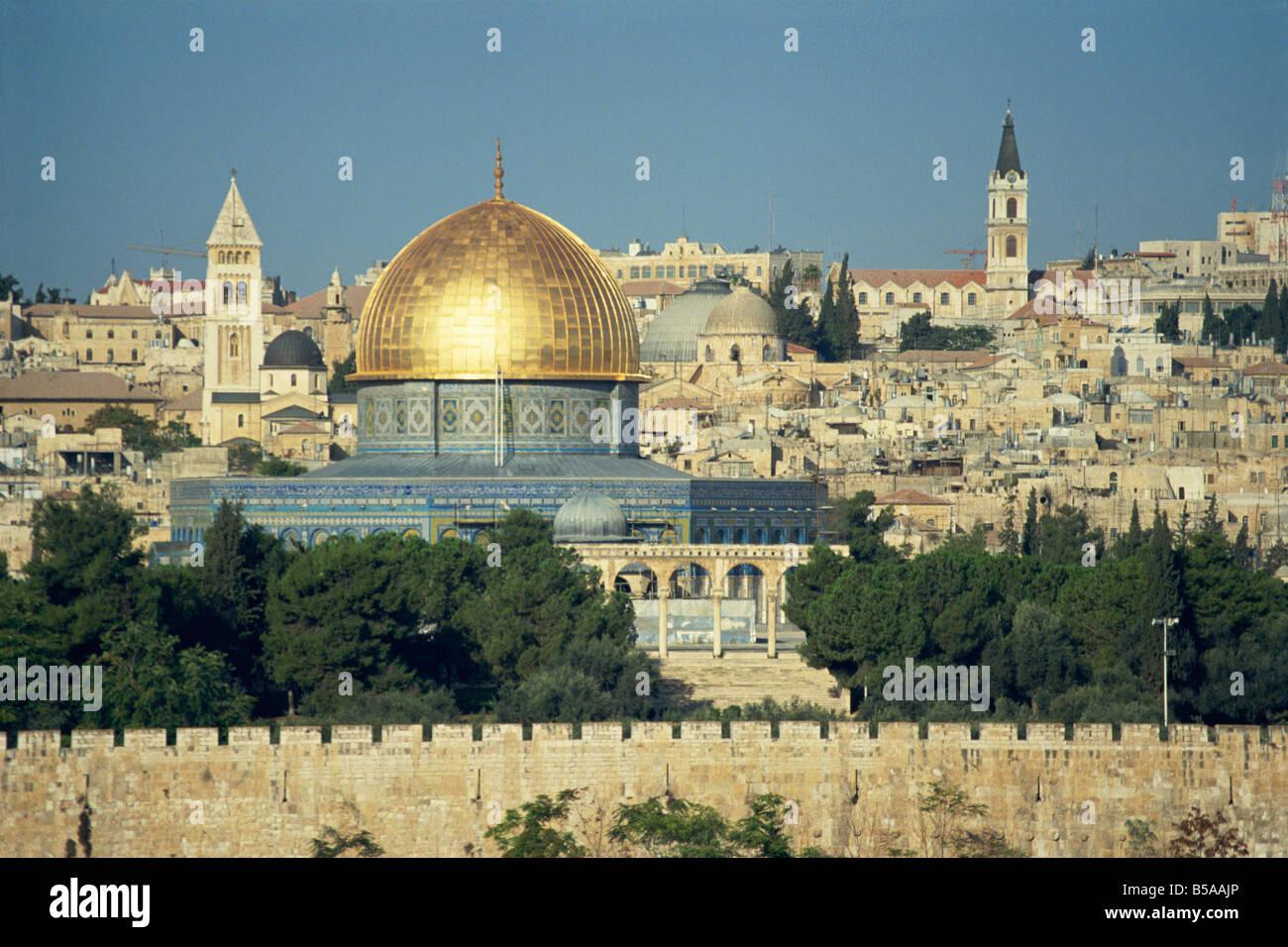 Dôme du Rocher et le Mont du Temple du Mont des Oliviers, l'UNESCO World Heritage Site, Jérusalem, Photo Stock