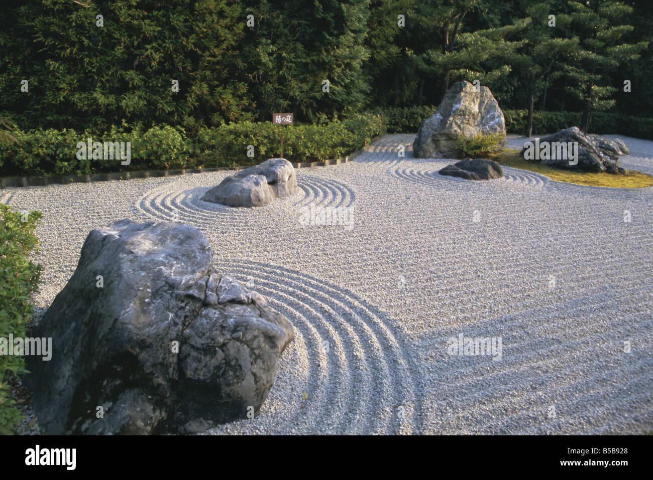 Jardin De Pierre Ratissees Dans Kyoto Temple Taizo Japon Asie Banque