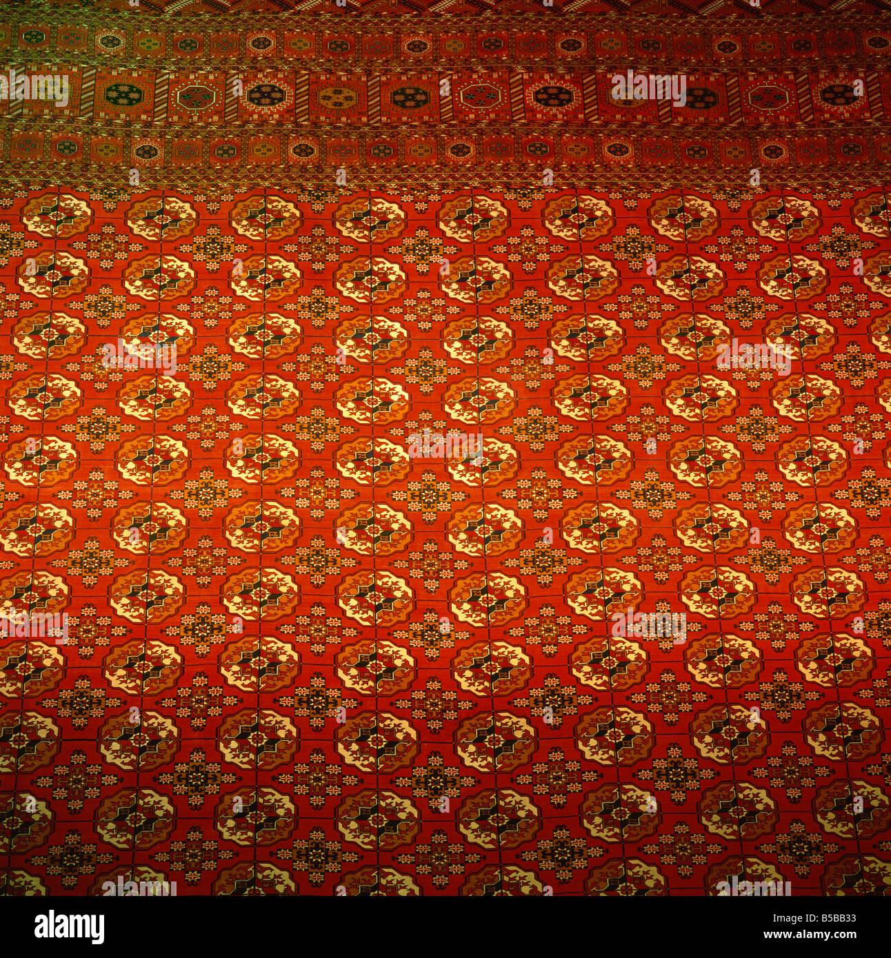 Plus grand tapis, exposition de réalisations économiques, Achgabat, Turkmenia, l'Asie centrale Photo Stock