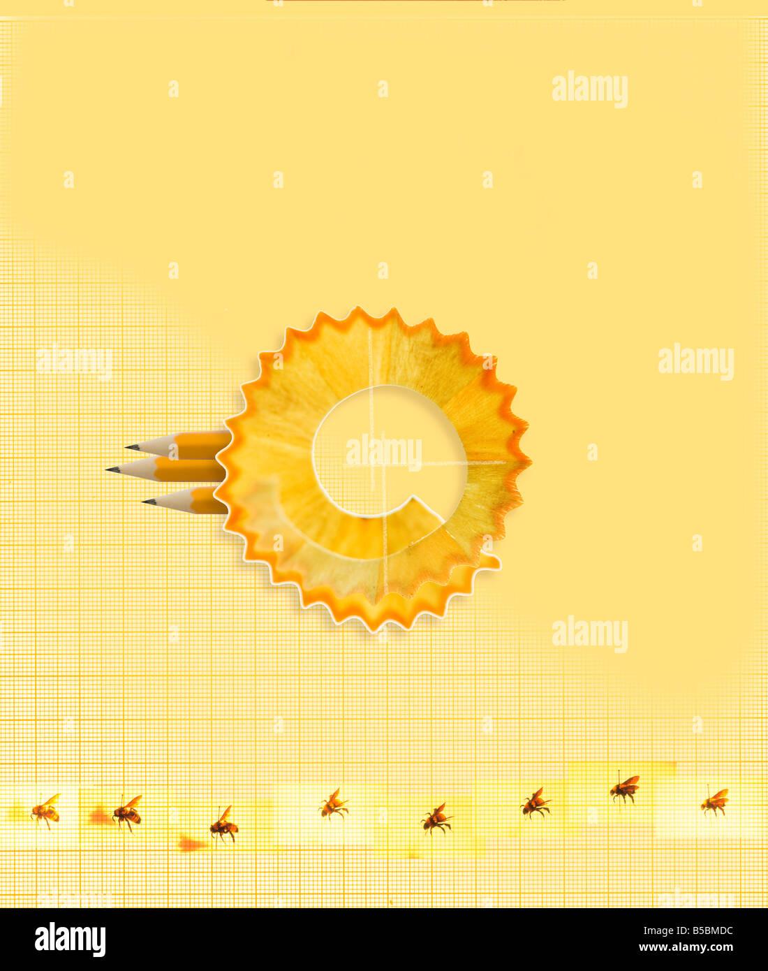 Copeaux de crayon crayon papier graphique motif abeilles cercle idée concept Photo Stock