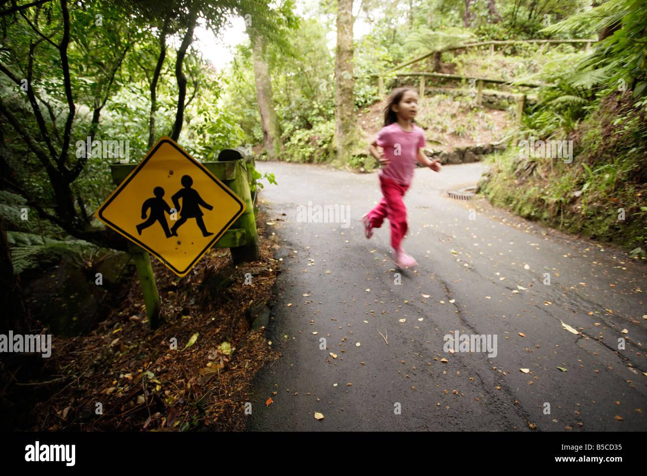 Jardins botaniques d'exécution enfant Wellington New Zealand Six ans 6 Banque D'Images