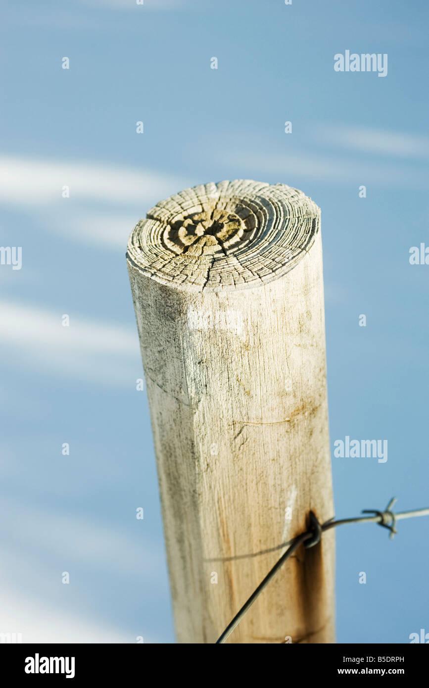 En bois avec du fil de fer barbelé, neige en arrière-plan, close-up Banque D'Images