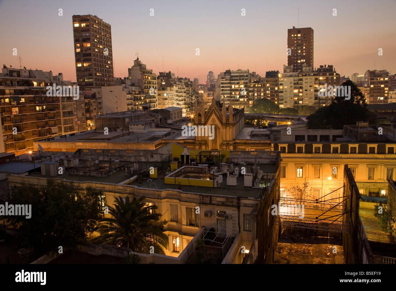 Coucher de soleil sur la Recoleta, Buenos Aires Photo Stock