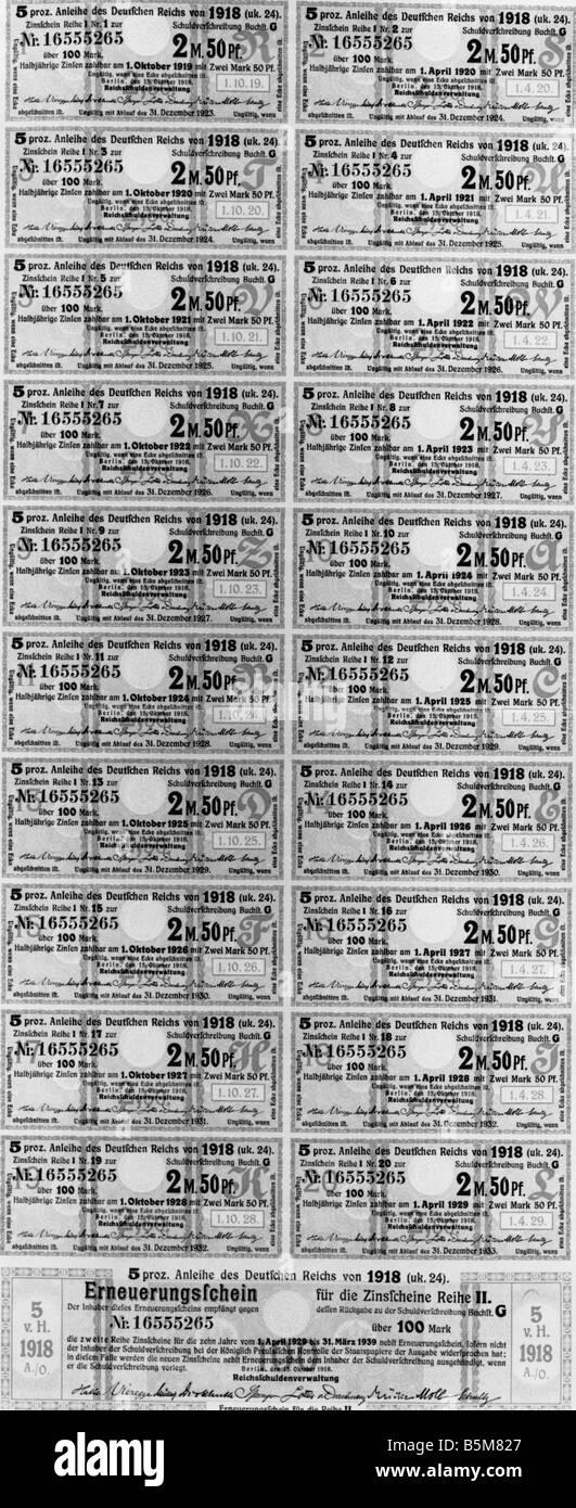2 F20 A5 1918 1 War Bond 9e Reich allemand 1918 Finances BOND Cautionnement du Reich à partir de 1918 l'évaluation Photo Stock